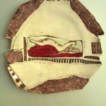 Red Pillow ceramic wall plate