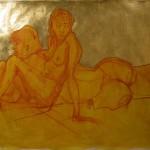 "human L A N D S C A P E  7 : sanguine and gold leaf on paper 20 x 251⁄2""   $300."