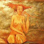 daydream : sanguine and gold leaf on paper :  50 x 65cm  not for sale