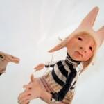 """Rabbits follow Wind ... 9"""" tall : $ 495."""