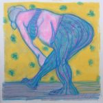 "Blue Leotards   11x11""  monotype  $150.CAD"