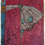 SOLD : Fragile Beating  9.5x8  monotype and hand coloured  $200.CAD